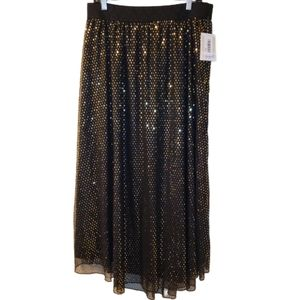 Lularoe Lucy Sparkly Gold and Black Maxi Skirt NWT